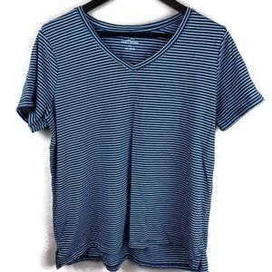 Eddie Bauer Womens Shirt, Teal Striped Vneck XXL